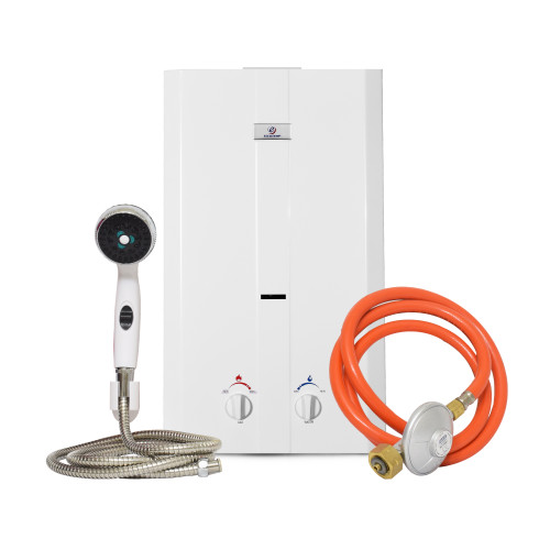 Eccotemp CEL-10 Portable Outdoor Tankless Water Heater w/ Shower Set, 50 mbar