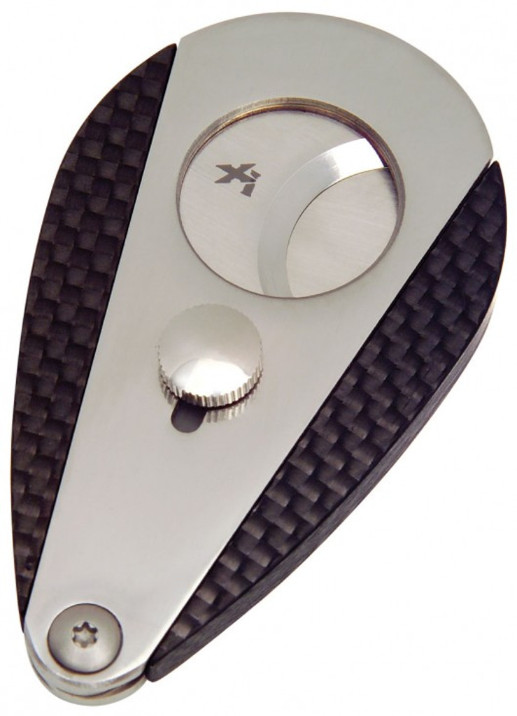 Xikar Xi3 Carbon Fiber Guillotine Cut Double-Blade Cigar Cutter Carbon Fiber Blades Lock After Use Butterfly Teardrop Style Spring Loaded Open Squeeze to Cut
