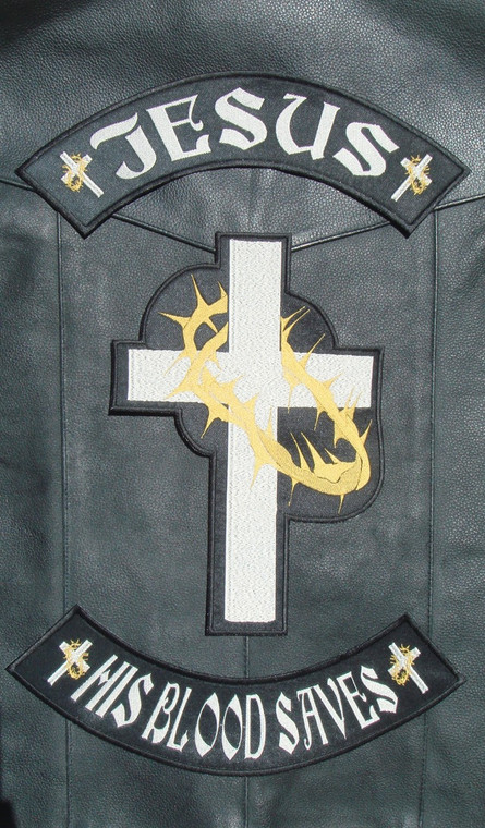 Jesus, his blood saves, with Cross and Throns - Christian Patch