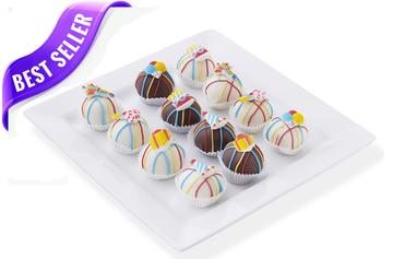 Festive birthday cake balls
