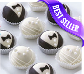 Bride and groom cake balls, perfect for weddings!