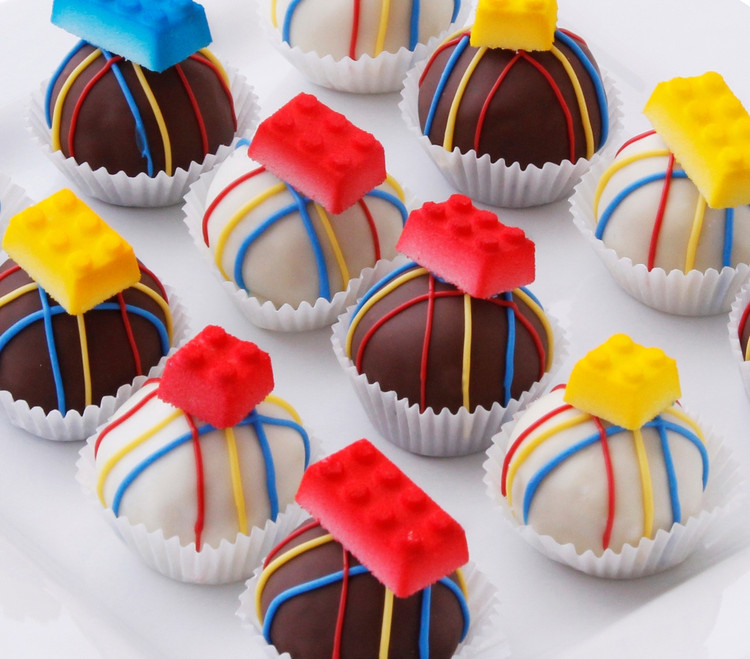 Lego cake balls, great for birthday parties!