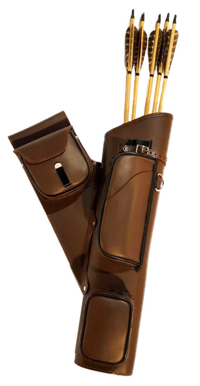 Acorp 3 Pouch Leather Side Quiver - Archery Source Canada