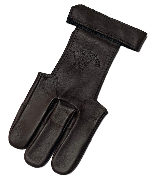 Brown Leather 3 Finger Glove w/ Black Tips - Archery Source Canada