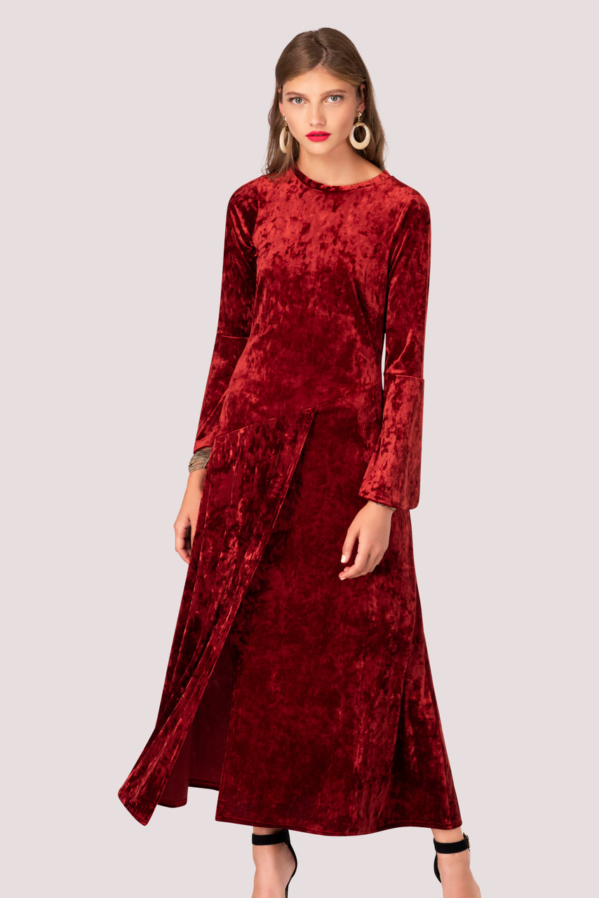 Crushed Velvet Rust Asymmetric A Line Dress Closet London