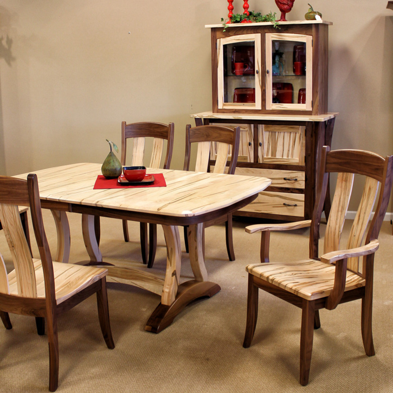 Amish Handcrafted Wormy Maple Walnut Dining Collection Southern Outdoor Furniture