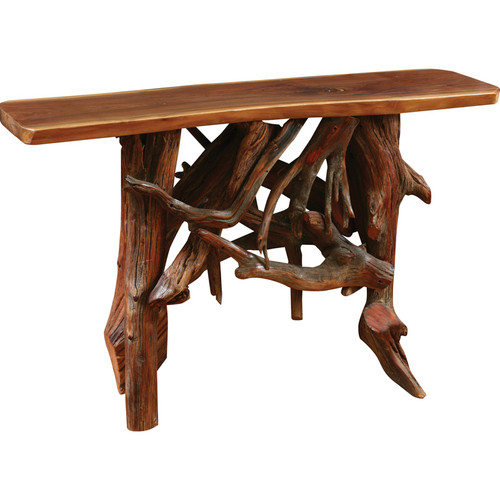 Amish Handcrafted Rustic Walnut Root Base Sofa Table