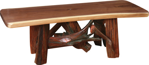 Amish Handcrafted Rustic Walnut Root Base Coffee Table