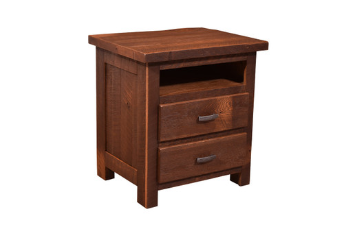 Barnwood Quincy 2 Drawer Night Stand With Open Shelf