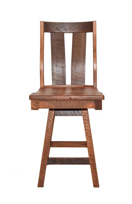 "Amish Handcrafted 24"" Swivel Barnwood Barstool"