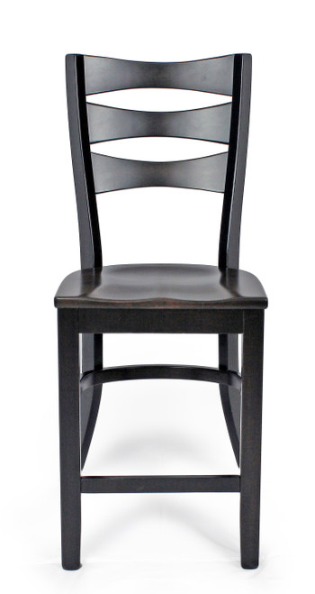 Amish Built | Sierra Counter  Chair, Brown Maple with Tiger Maple seat.
