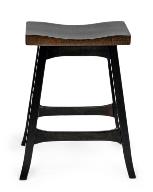 Amish Built | Weston Wave stool, Brown Maple with Tiger Maple tops.