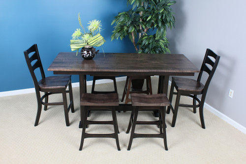 Amish Built | Tolieson Dining Set, Brown Maple with Tiger Maple table top and chair seats.