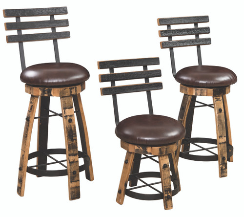 Amish Built | Rustic Barrel Barstool with round cushioned seats