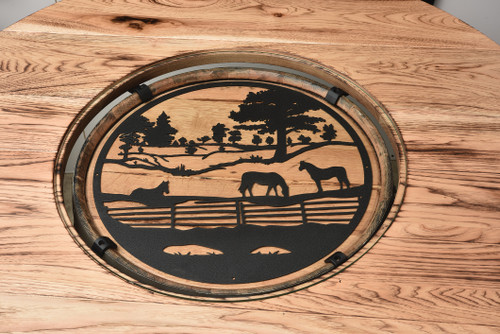 Amish Built   Round Metal Barrel Top Insert