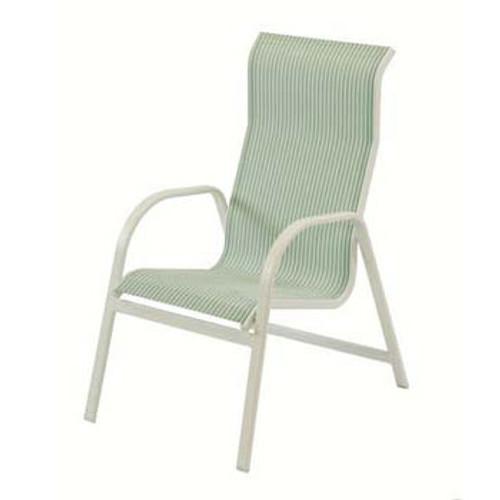 Ocean Breeze Sling High Back Dining Arm Chair Bolt-thru - Stackable
