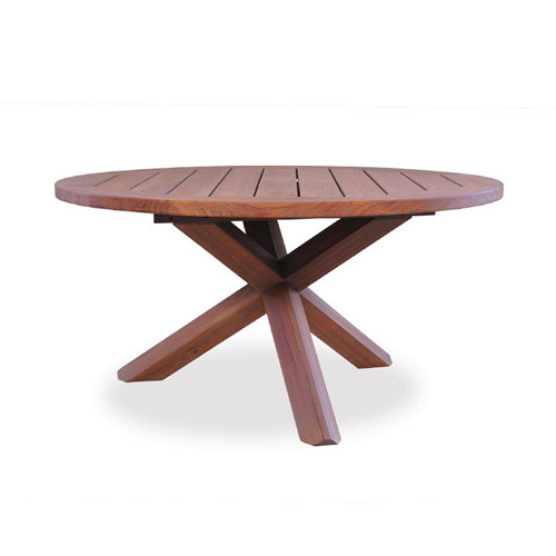 "LLoyd Flanders Antiqued Teak 48"" Round Cross-Base Conversation Table"