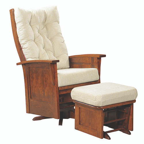 Amish Handcrafted Deluxe Panel Mission Swivel Glider