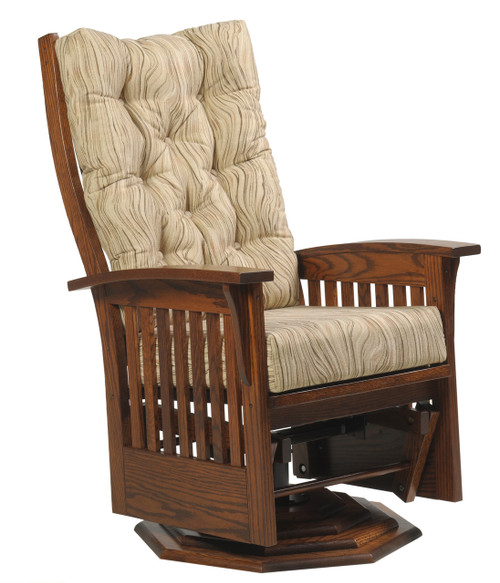 Amish Handcrafted Deluxe Mission Swivel Glider With Octagonal Base