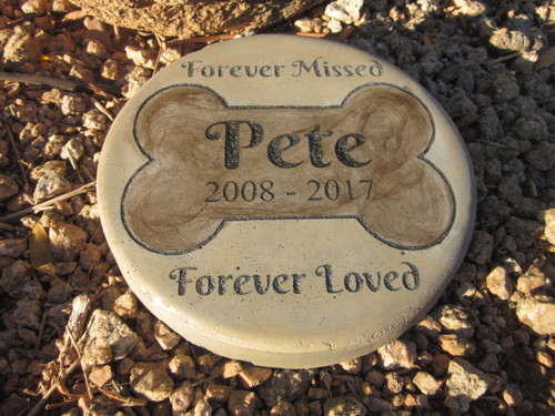 "Personalized Engraved Pet Memorial  Stone 7.5"" Diameter 'Forever Missed Forever Loved"