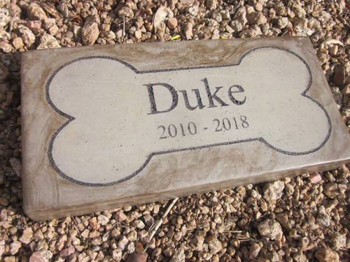 """Personalized Engraved Pet Memorial  Stone 11.5""""x 5.5"""" Bone Outline"""