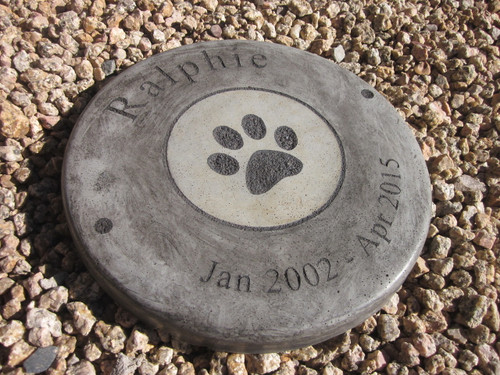 "Personalized Engraved Pet Memorial  Stone 11"" Diameter 'Paw Circle"