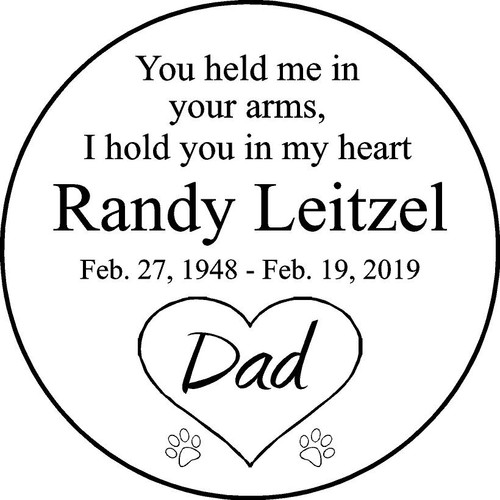 "Family Memories Step Stone 11"" Diameter 'MSS112S_NMT_Randy Leitzel"