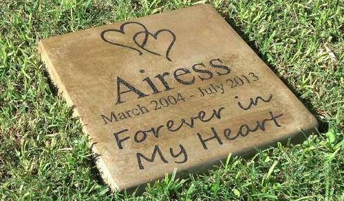 "Personalized Engraved Pet Memorial  Stone 11.5""x11.5"" 'Forever in My Heart'"