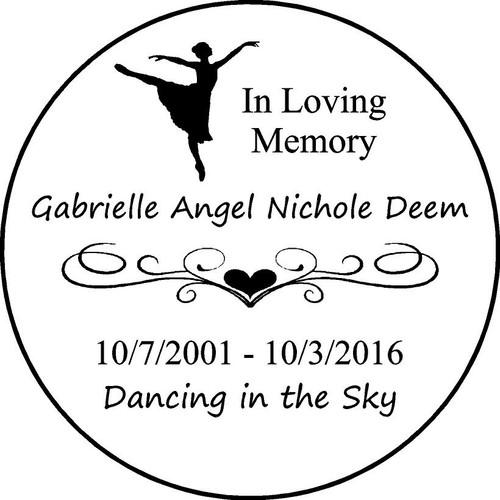 "Personalized Engraved Pet Memorial  Stone 11""Gabrielle Angel Nichole Deem"
