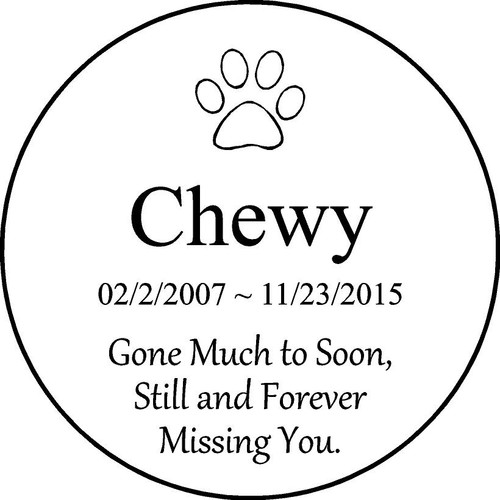 "Copy of Personalized Engraved Pet Memorial  Stone 11"" Chewy"