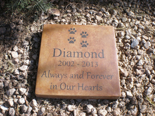 "Personalized Engraved Pet Memorial  Stone 11.5""x11.5"" 'Always and Forever in Our Hearts'"
