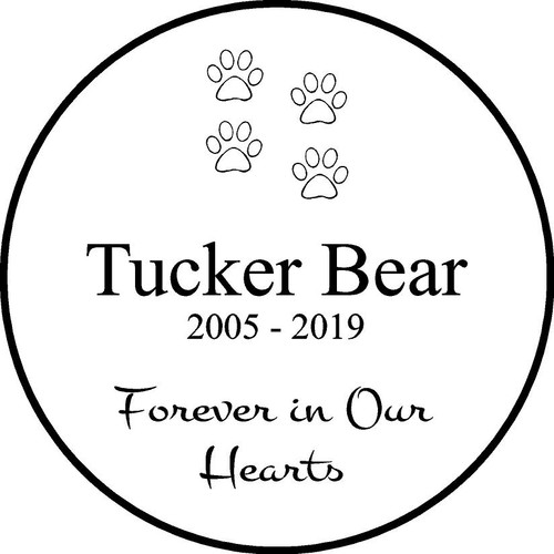 "Copy of Personalized Engraved Pet Memorial  Stone 11"" Tucker Bear_custom_11"