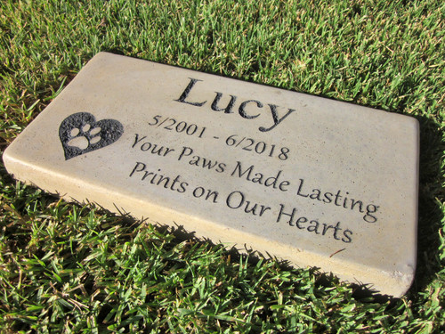 """Personalized Engraved Pet Memorial  Stone 11.5""""x 5.5"""" Your Paws Made Lasting Prints in Our Hearts"""
