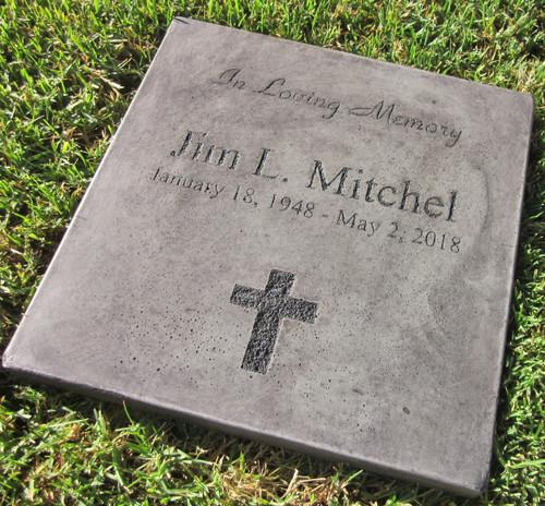 "Personalized Engraved Memorial Garden Stone 11.5""x11.5"" In Loving Memory"