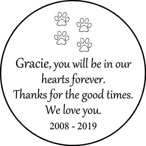 "Personalized Engraved Memorial  Stone 11"" Gracie_custom"