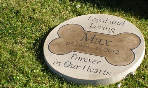 "Personalized Engraved Pet Memorial  Stone 13.5"" Diameter 'Loving and Loyal Forever in Our Hearts'"