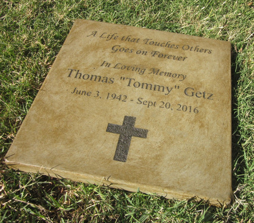 "Personalized Engraved Memorial Garden Stone 11.5""x11.5"" A Life that Touches Others  Goes on Forever"