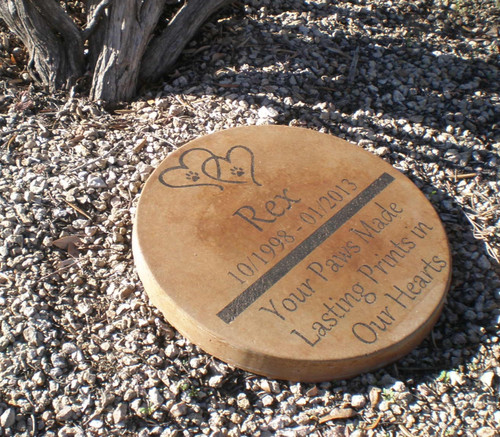 "Personalized Engraved Pet Memorial  Stone 13.5"" Diameter 'Your Paws Made Lasting Prints in Our Hearts'"