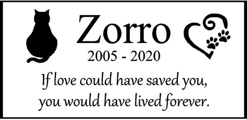 "Personalized Engraved  Memorial  Stone 11.5""""x 5.5""  Zorro_custom"