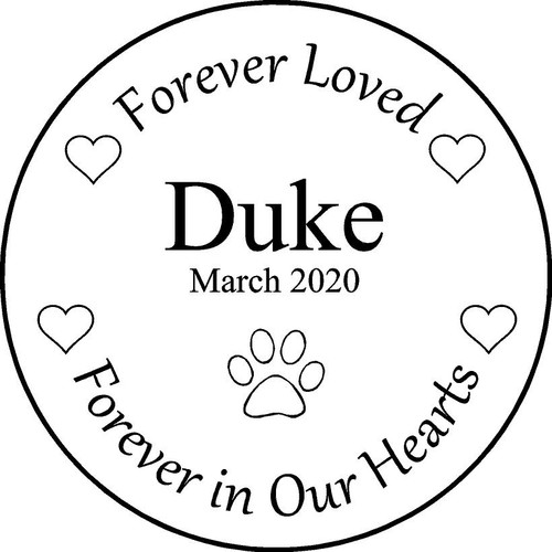 "Personalized Engraved Memorial  Stone 11"" Duke_custom"