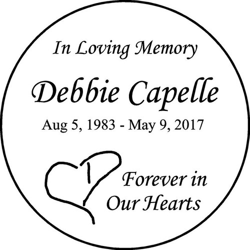 "Personalized Engraved Memorial  Stone 11"" Debbie Capelle_custom"