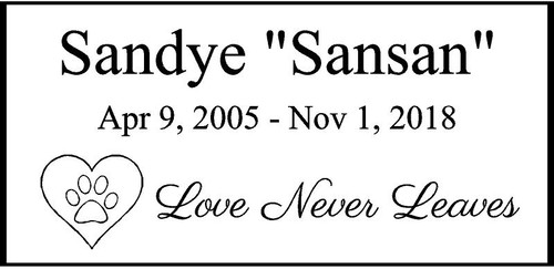"Personalized Engraved  Memorial  Stone 11.5""""x 5.5"" Sandye_custom"