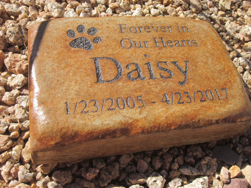 "Personalized Engraved Pet Memorial  Stone 8.5""x5.5""  Forever in Our Hearts"