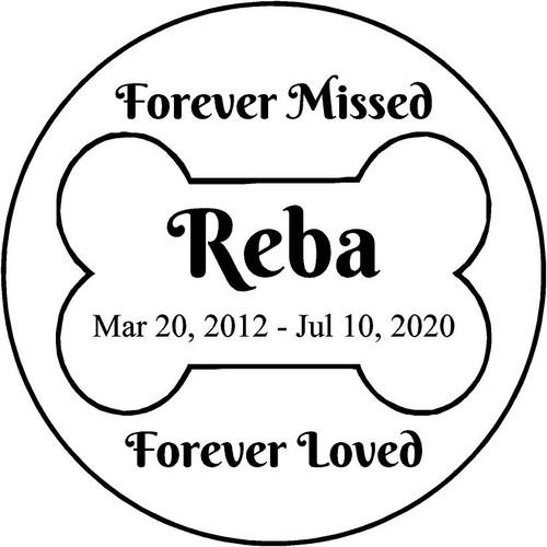 """Personalized Engraved Memorial  Stone 11"""" Reba_custom"""