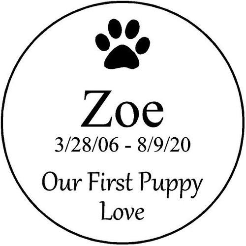 "Personalized Engraved  Stone 7.5"" Diameter Zoe_Custom"