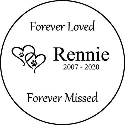 "Personalized Engraved Memorial  Stone 11""  Rennie_custom"