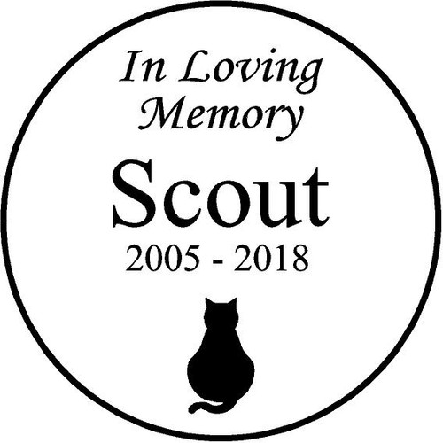 "Personalized Engraved Pet Memorial  Stone 7.5"" Diameter 'In Loving Memory' Scout"