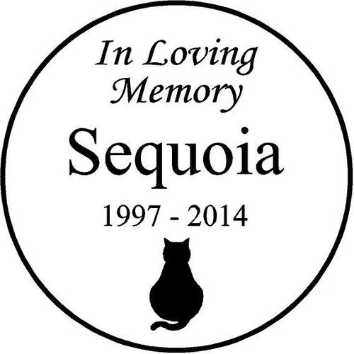 "Personalized Engraved Pet Memorial  Stone 7.5"" Diameter 'In Loving Memory' Sequioa"