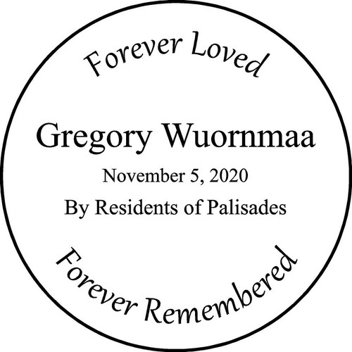 "Personalized Engraved Memorial Garden Stone 13.5""  Gregory Wuornmaa"