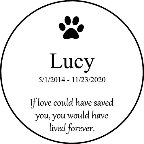 "Personalized Engraved Memorial Garden Stone 13.5""  Lucy_custom"